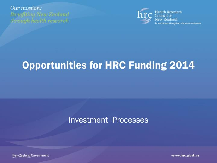 opportunities for hrc funding 2014 n.
