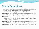 binary expansions