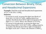 conversion between binary octal and hexadecimal expansions