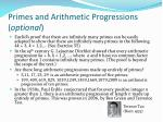primes and arithmetic progressions optional