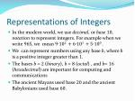 representations of integers