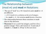 the relationship between mod m and mod m notations