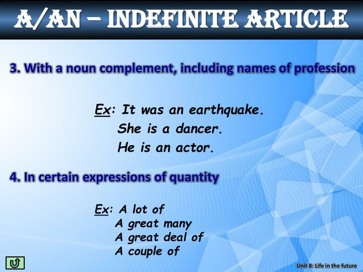 a/an – indefinite article