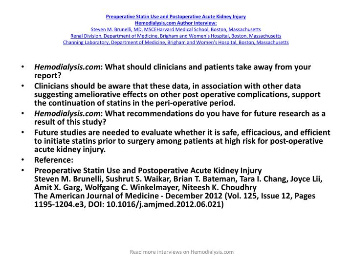Preoperative Statin Use and Postoperative Acute Kidney Injury