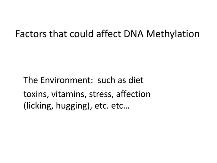 Factors that could affect DNA