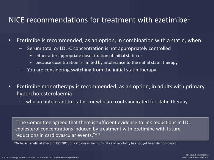 NICE recommendations for treatment with ezetimibe