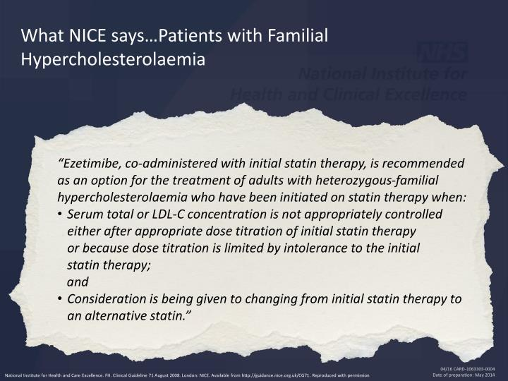 What NICE says…Patients with Familial