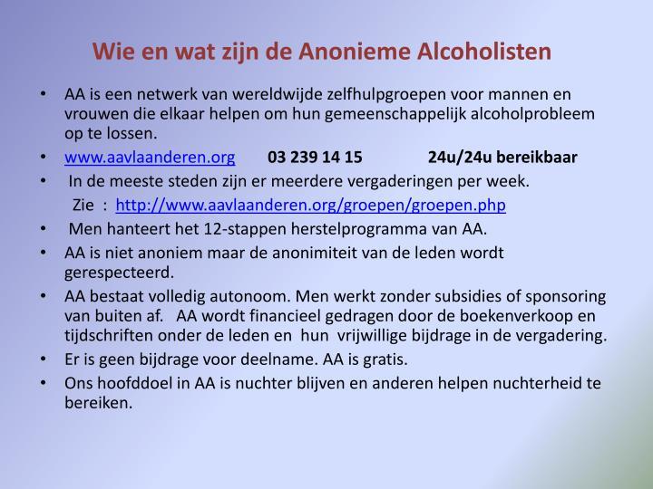 Wie en wat zijn de anonieme alcoholisten