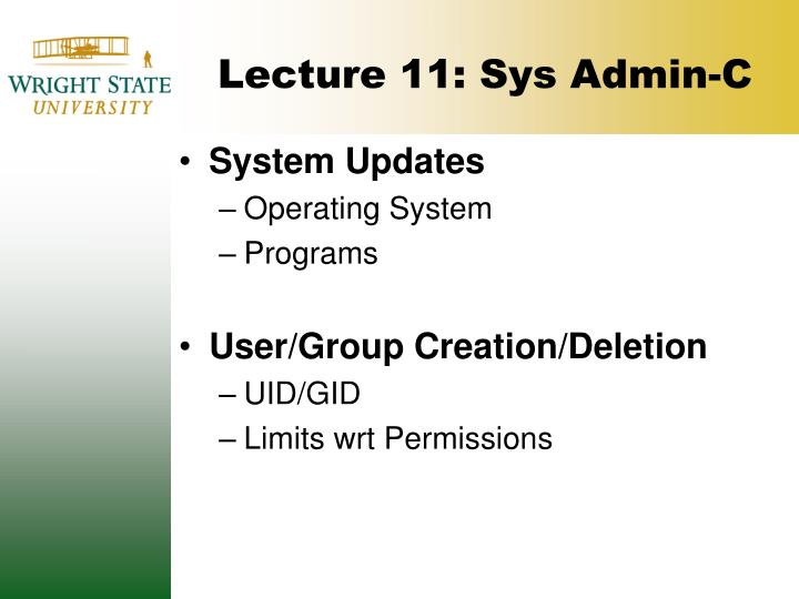 lecture 11 sys admin c n.
