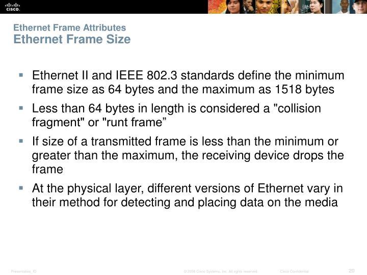 Ethernet Frame Attributes
