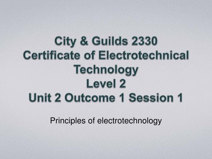 principles of electrotechnology n.