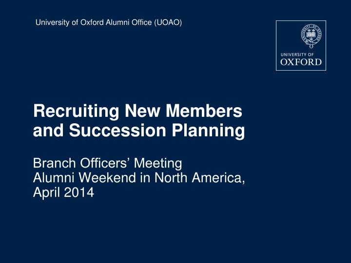 recruiting new members and succession planning n.