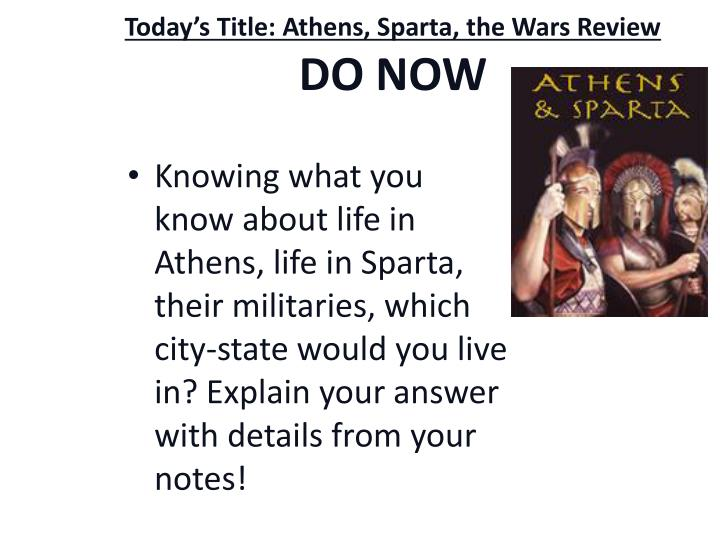 today s title athens sparta the wars review do now n.