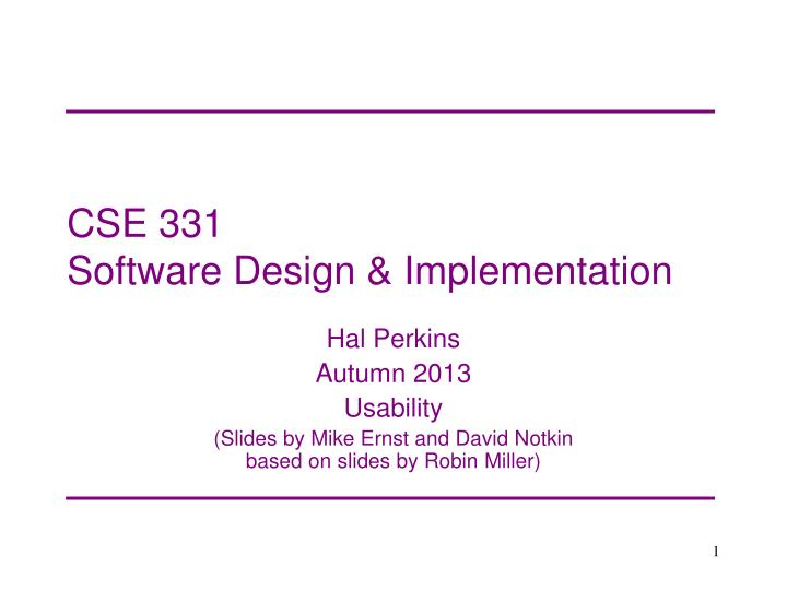cse 331 software design implementation n.
