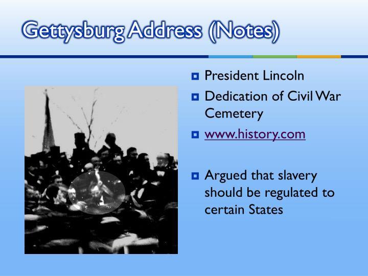 Gettysburg Address (Notes)