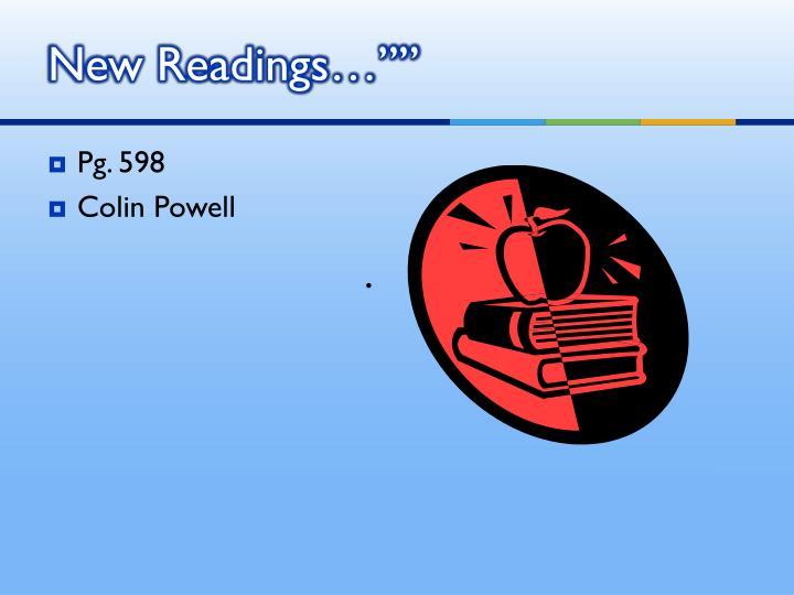 "New Readings…"""""