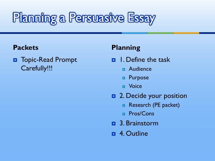 Planning a Persuasive Essay