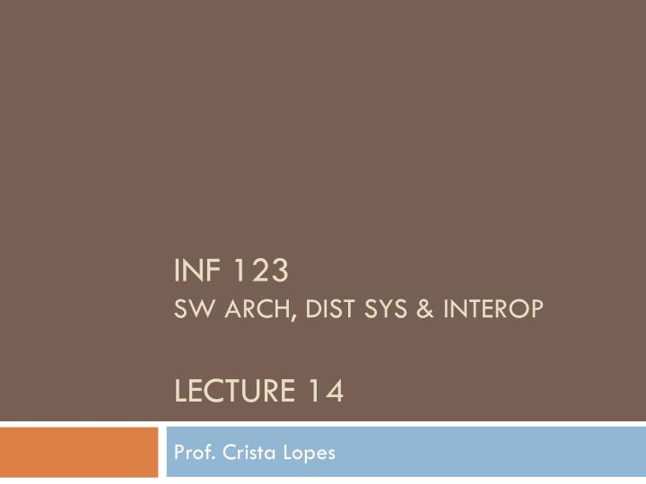 inf 123 sw arch dist sys interop lecture 14 n.