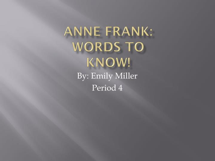 anne frank words to know n.