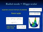 radial mode higgs scalar