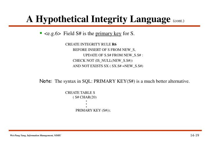 A Hypothetical Integrity Language