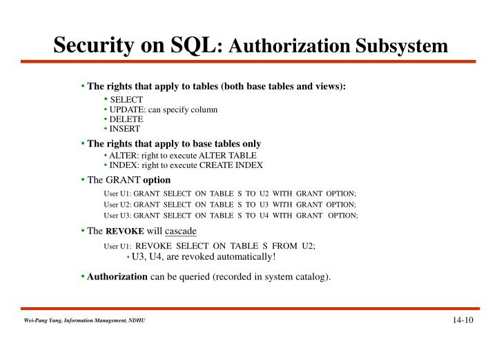 Security on SQL