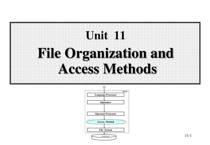 unit 11 file organization and access methods n.