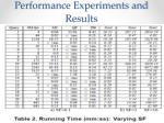 performance experiments and results6