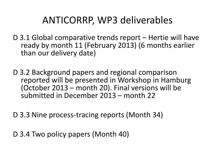 anticorrp wp3 deliverables n.