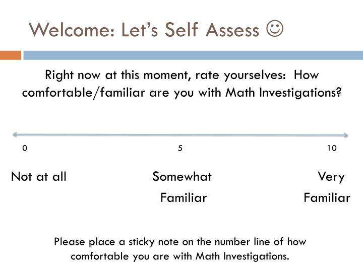 welcome let s self assess n.