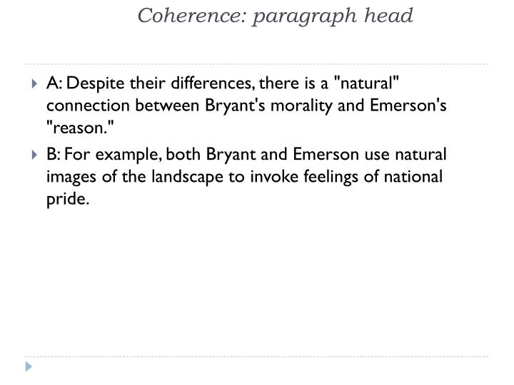 Coherence: paragraph head
