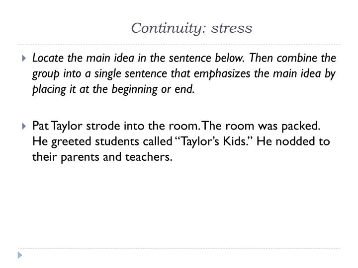Continuity: stress