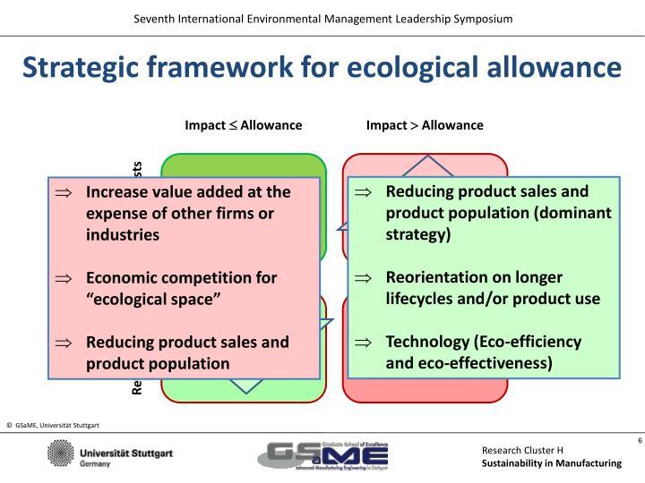 Strategic framework for ecological allowance