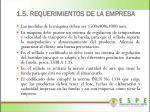 1 5 requerimientos de la empresa