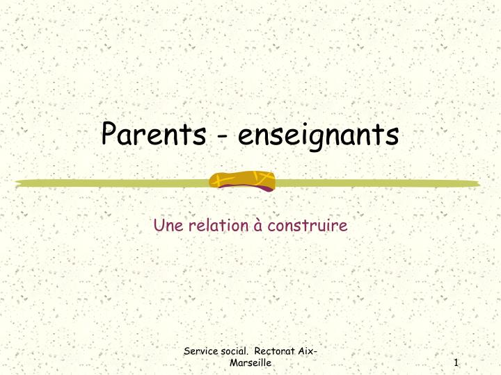 parents enseignants n.