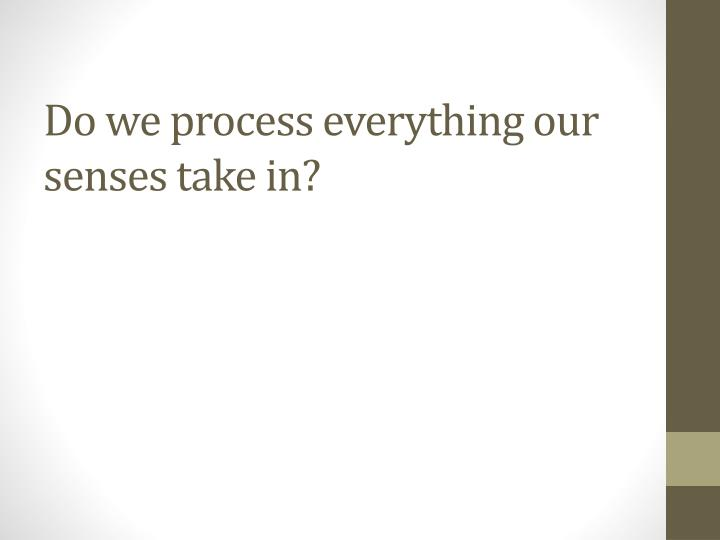 Do we process everything our senses take in?