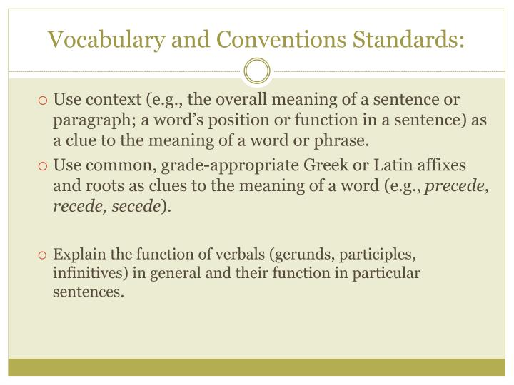 vocabulary and conventions standards n.