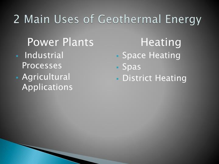 2 main uses of geothermal energy