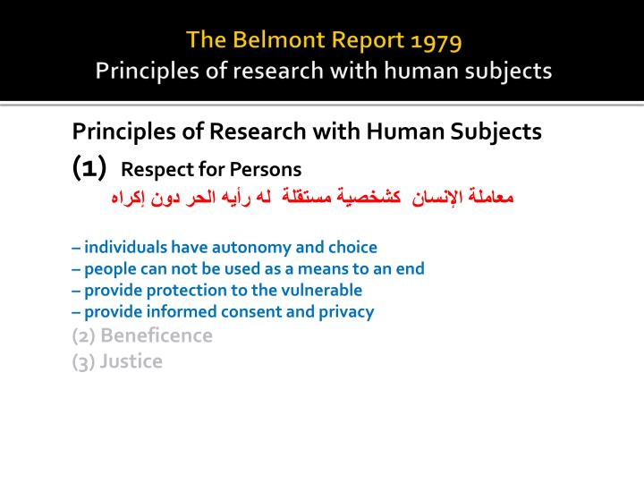 the three principles in the belmont report