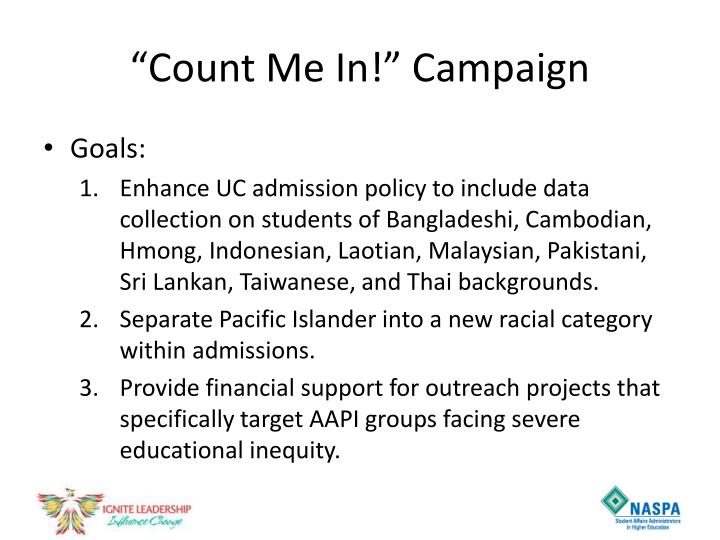 """""""Count Me In!"""" Campaign"""