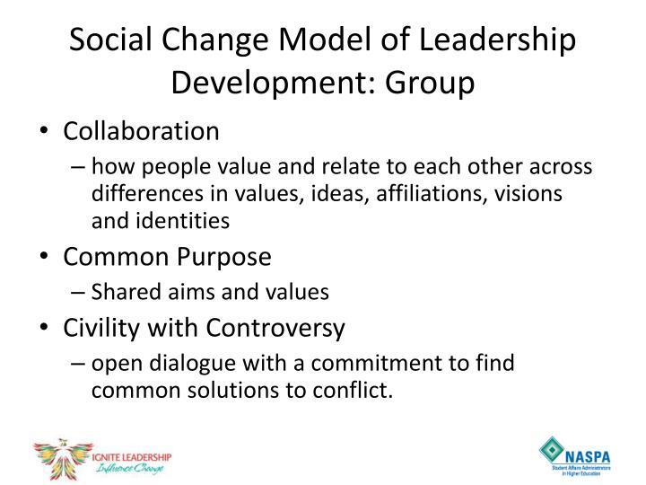 Social Change Model of Leadership Development: Group
