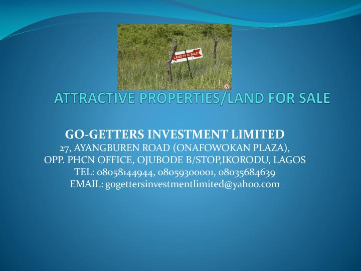 attractive properties land for sale n.