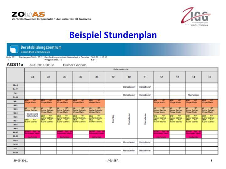 Beispiel Stundenplan