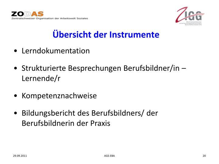 Übersicht der Instrumente