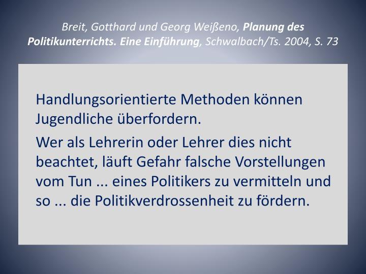Breit, Gotthard und Georg Weißeno,