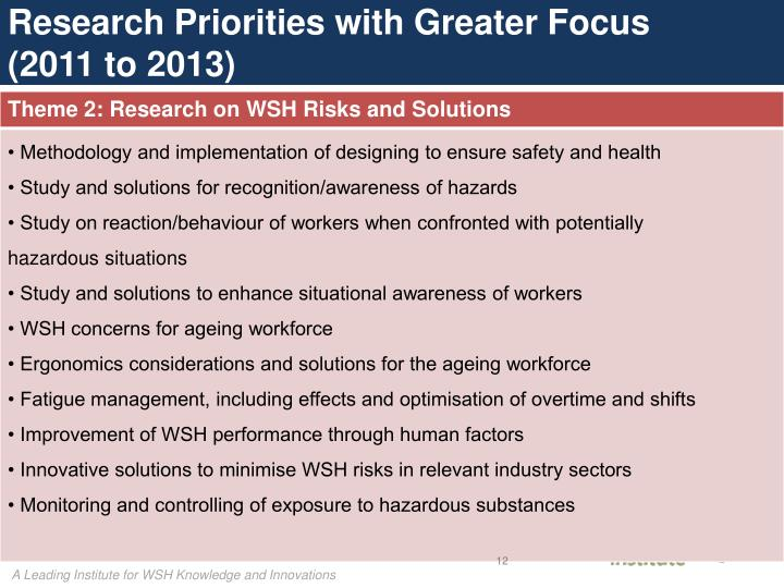 Research Priorities with Greater Focus