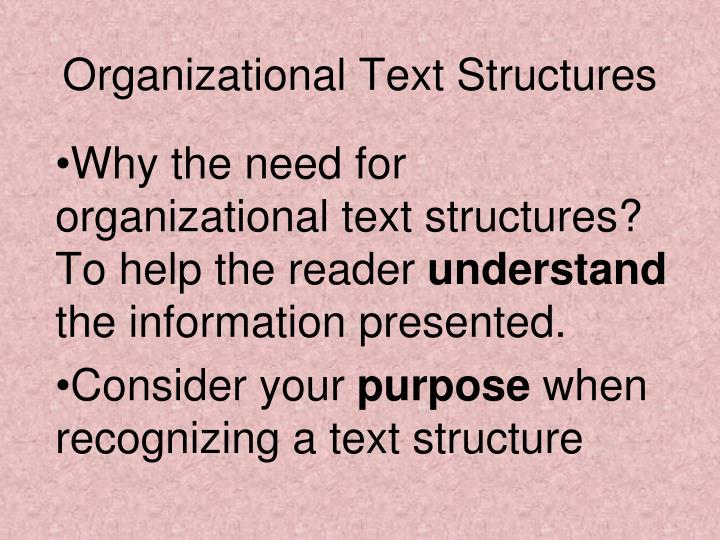 organizational text structures n.