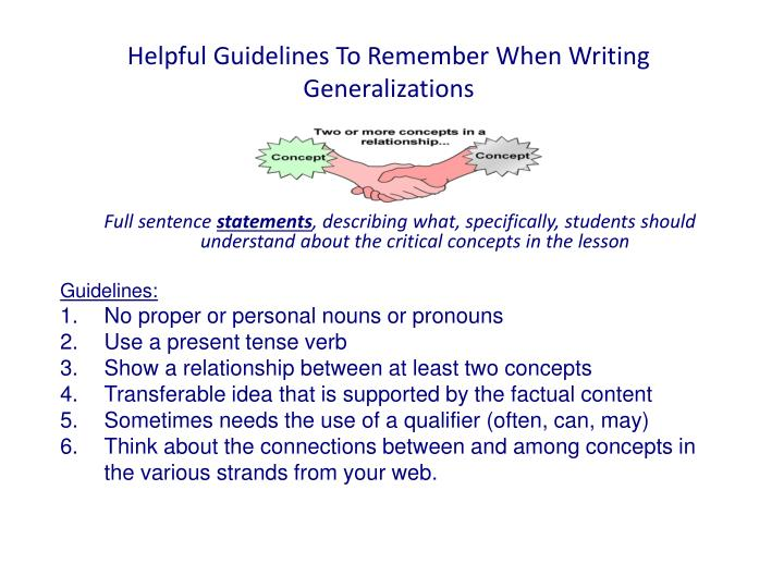 helpful guidelines to remember when writing generalizations n.