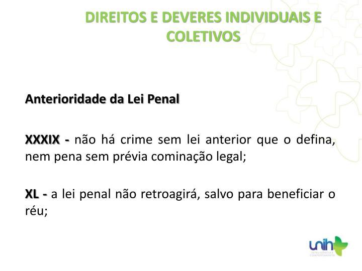 Anterioridade da Lei Penal