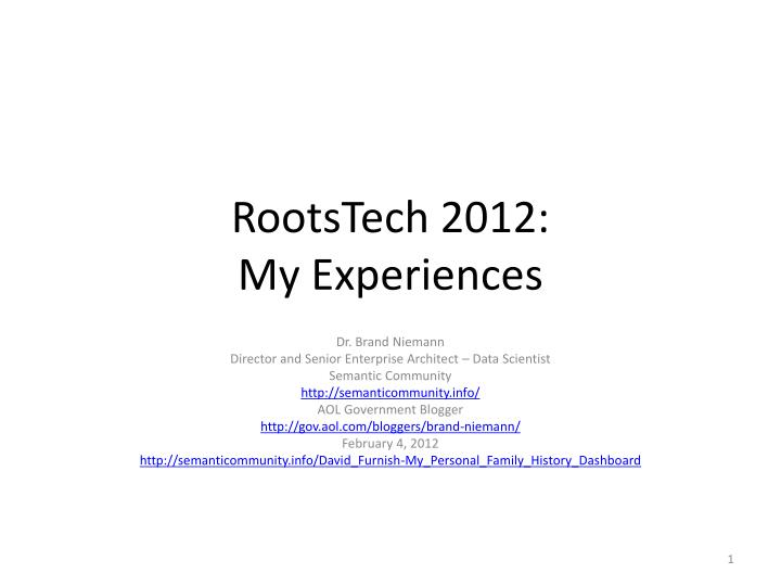rootstech 2012 my experiences n.